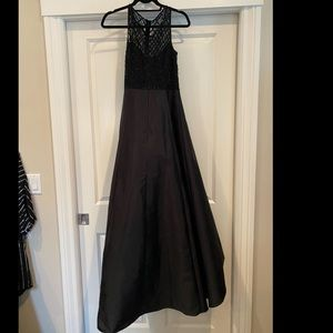 Black formal high low dress by Adrianna Papell.